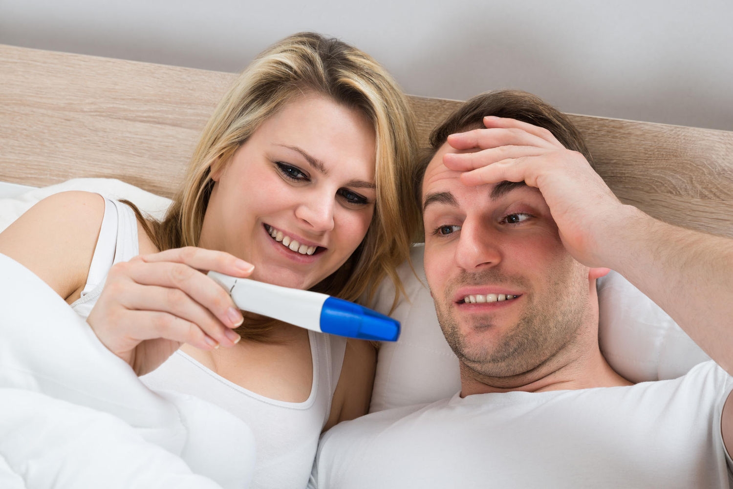 Young couple finding about pregnancy