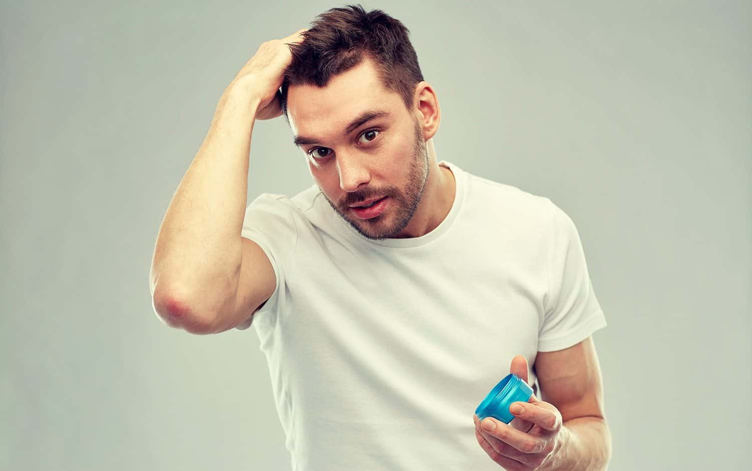 Men using a hair product