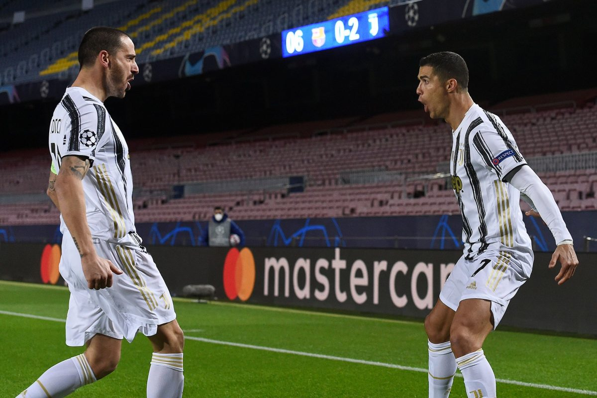 Ronaldo and Bonucci celebrating the former's second goal during a 3-0 victory against Barcelona in the Champions Leagues 20/21 group stage.