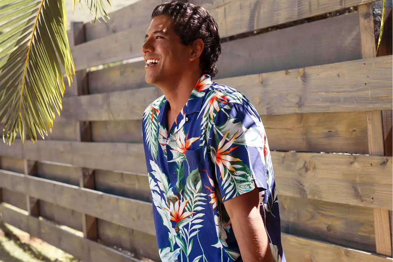 Surfer Isaiah Moniz wearing a shirt from the new Polo Hoffman Collection