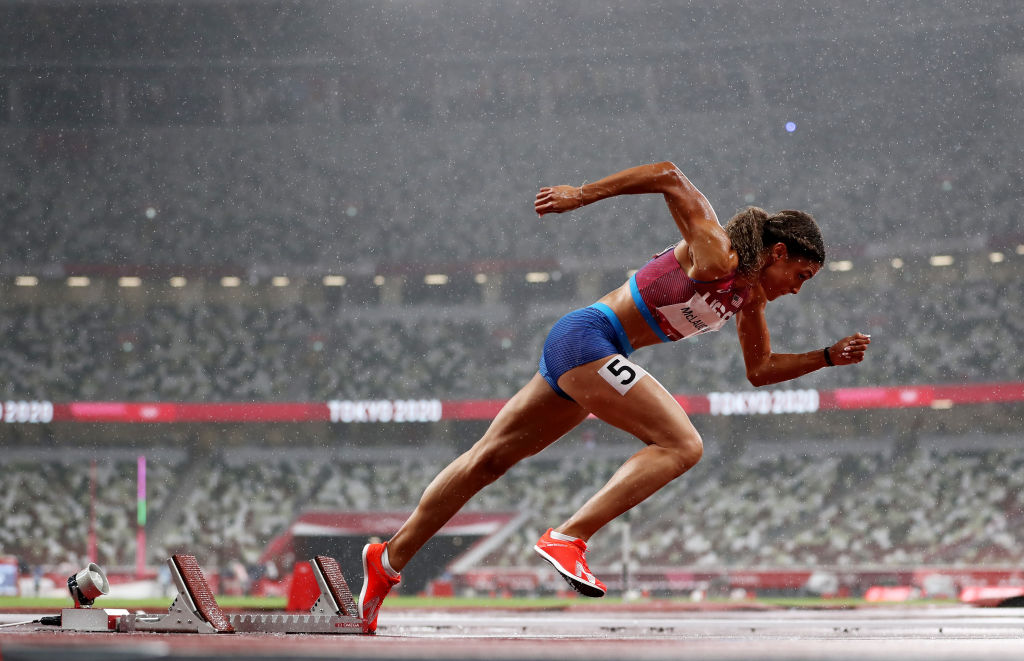 Sydney McLaughlin running in the 2020 Tokyo Olympics.